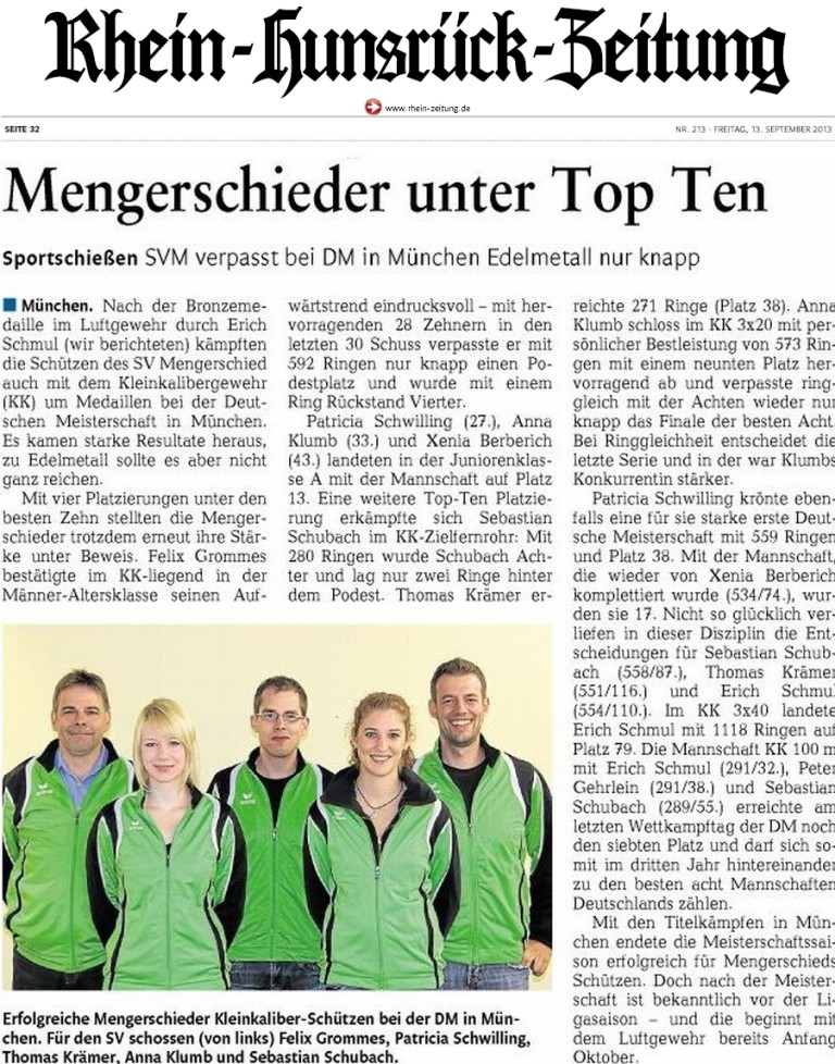 Mengerschieder unter Top Ten